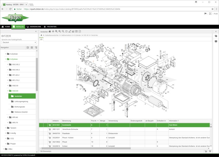 BITZER // BITZER's new EPARTS spare parts software online